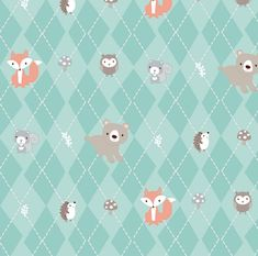15 Yards in Stock - 3 Wishes Fabric - Animals in Forest from the collection Little Forest - 12947 - 100% Cotton