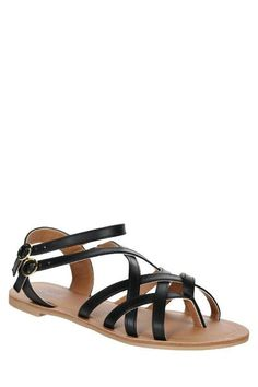 Athena Black Strappy Ankle Sandal