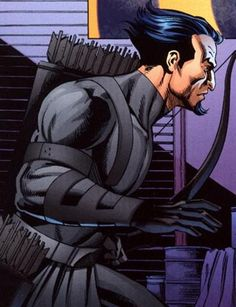 An expert assassin with his bow and arrow, Merlyn hires himself for a hefty fee, working with such villains as Maxie Zeus and Syonide. He has battled Green Arrow and Black Canary on several occasions. Arrow Dc Comics, Superhero Images, League Of Assassins, Al Ghul, Hand To Hand Combat, Arkham Asylum, Physical Condition, New Earth, Dc Characters