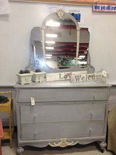 Antique dresser and mirror painted with ASCP in Paris Grey and Old White.