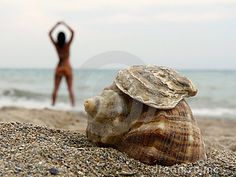 Shells on the beach and silhouette of a woman doing yoga or relaxing near ocean.