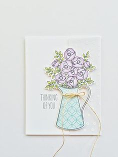 """Beautiful handmade """"thinking of you"""" card for a friend. All stamps, dies, and card stock by A Muse Studio. Bouquet of Love stamp set, Bouquet of Love die set, Toffee twine. #cas #diy #stamping #handstamped #papercrafts #cardideas #amusestudio #sympathycardideas"""
