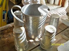 Vintage Hammered Aluminum Pitcher and 6 by CarolinaJayUnusuals, $32.00