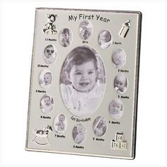 """$16.99 Silver-tone frame creates a miniature gallery of your baby's first year!  Twelve oval openings surround a large center window.  Small windows each hold a 1"""" x 1 1/2"""" monthly photo; large window holds a 4"""" x 6"""" photo of baby's first birthday.  Metal with glass cover.  8 3/4"""" x 3/4"""" x 11"""" high."""