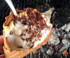 Enjoy ooey gooey, chocolaty campfire s'mores without getting your hands dirty. Mix and match flavors with our 6 fun s'mores cones recipes.