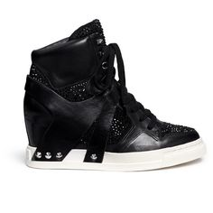 Ash 'Club' high top crystal leather wedge sneakers ($340) ❤ liked on Polyvore featuring shoes, sneakers, black, black wedge sneakers, leather high tops, leather sneakers, black high tops and wedged sneakers