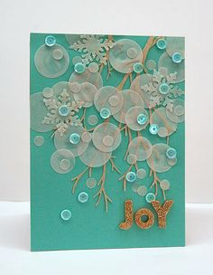 handmade card ... wintery-joy-bokeh-card ... aqua base ... circles punched from vellum create the bokeh effect long with irridescent sequins ... delightful card!!