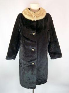 Blond Mink Circle Collar Faux Fur Coat M Rhinestone Buttons Vintage Jackie