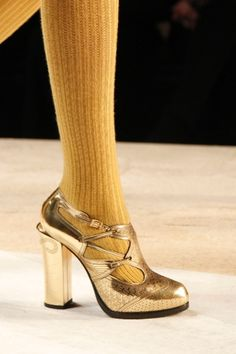 #gold #shoes fendi