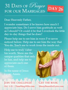 Day 26 - 31 Days of Prayer for Our Marriages