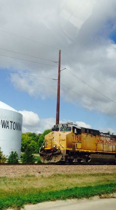 Union Pacific train passing through down by Morehouse Park in Owatonna.