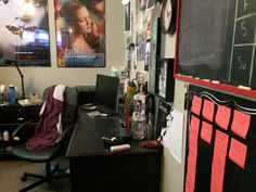 Furniture in a small college room would have to be completely removed to allow for cameras and lights. Photo from Sabrina Grimes room.