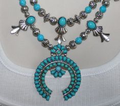 Squash Blossom Statement Necklace, Faux Turquoise Half Moon Bohemian Pendant Jewelry, Navajo Style Tribal Jewelry, Blue Cowgirl Necklace by 123gemstones, $65.00 USD