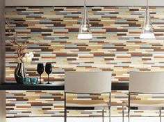 Wallpaper random colored wood pattern by 2.5m  by WallDecalSticker