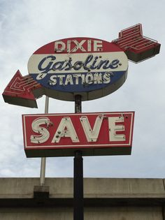 Dixie Gasoline Stations Neon Sign
