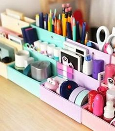 niceeshop(TM) DIY Stationery Makeup Organizer Paper Board Storage Box,Random Color