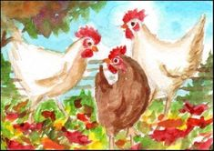 "Daily Paintworks - ""ACEO Watercolor Chickens"" - Original Fine Art for Sale - © Patricia Ann Rizzo"
