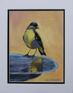 Golden Glow- Susan Westmoreland – Atlanta Artist Collectives. 14 x 11 inches. Oil on paper, matted in white. $70 #birds #birdlovers #impressionism