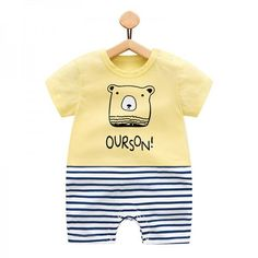 74942a747724 Baby s Striped Bear Contrast Short Sleeve Cotton Bodysuit in Yellow   matchingoutfit  toddles  kid
