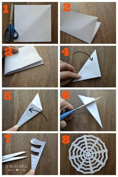 These paper spider webs are SO EASY to make and they look amazing! This is such an awesome homemade Halloween decoration! And its such a great Halloween craft to make with the kids. I love the pipe cleaner spider! Halloween Arts And Crafts, Halloween Decorations For Kids, Halloween Crafts For Toddlers, Halloween Activities, Halloween Party Decor, Fall Crafts, Happy Halloween, Manualidades Halloween, Adornos Halloween