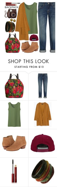 """""""Bountiful Backpack"""" by sweet-jolly-looks ❤ liked on Polyvore featuring Patricia Nash, dVb Victoria Beckham, Uniqlo, Zara, Jack Rogers, H&M, Kevyn Aucoin, Fujifilm, Elizabeth Gage and BackToSchool"""