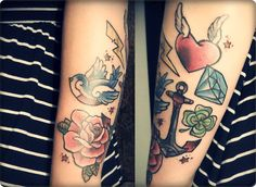 Hey, i'm Luciana, I had this one last January 2012, in Montevideo, Uruguay. It was made by Santi at Think Tattoo Parlour studio… it's obviously a nice tribute to American Traditional tattoos… just LOVE it!