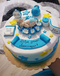 Welcome home baby - cake by Kamelia Welcome Home Cakes, Welcome Home Decorations, Welcome Home Baby, Welcome Baby Boys, Baby Shower Decorations For Boys, Baby Decor, Baby Birthday Cakes, Baby Boy Cakes, Cakes For Boys