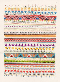 pattern by Sandra Dieckmann Illustration Textile Patterns, Textile Design, Textiles, Doodle Patterns, Surface Pattern Design, Pattern Art, Navajo Pattern, Pretty Patterns, Color Patterns