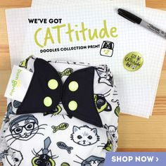 /'CAttitude /' no 2  DOODLES series limited edition BumGenius 5.0 Pocket Nappy ONE