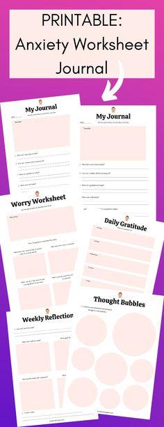 Printable anxiety worksheet journal #anxietyjournal Mental Health Blogs, Mental Health Journal, Kids Mental Health, Anxiety Self Help, Anxiety Tips, Planners