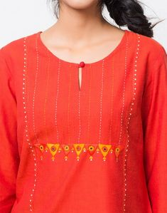Hand Embroidery Stitches, Embroidery Designs, New Designer Dresses, Embroidery On Kurtis, Kurti Neck Designs, Bear Wallpaper, Circles, New Dress, Tunic Tops
