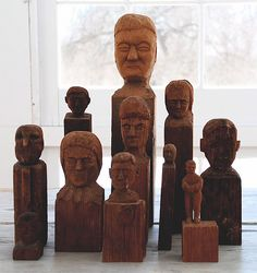 Folk Art Carved Wood Heads Collection.