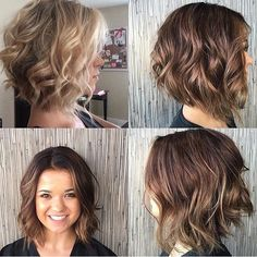Bob, Aline, brown, blonde, from blonde to brown, edgy, before and after, short hair, medium hair,