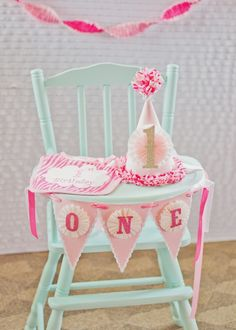 Girly & Pink First Birthday Party Baby Girl 1st Birthday, Blue Birthday, Birthday Fun, First Birthday Parties, First Birthdays, Birthday Ideas, Birthday Decorations, Birthday Chair, Birthday Garland