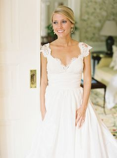 I like the way this hair looks from the front. Volume but soft Southern Bride of the Month: Amy - Southern Weddings Magazine Southern Bride, Southern Weddings, Southern Charm, Wedding Wishes, Wedding Bells, Wedding Attire, Wedding Gowns, Lace Wedding, Bridal Gown
