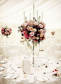 """Wedding Flowers """"Elegant, tall polished French style candelabras. A sophisticated glamorous look created with tightly packed all round spheres of bloomy, romantic flowers including hydrangeas, David Austin Miranda and patience roses, ivory Avalanche roses and pale pink Sweet Avalanche roses, vintage pink Amnesia and Hypnose roses, and Belle Rose roses.  Ask your florist about candelabra hire. """""""