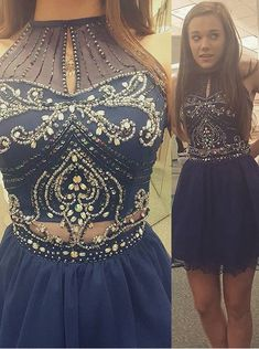 Buy A-line Beading High Neck Sleeveless Royal Blue Mini Chiffon Homecoming Dress CHHD-70947 2016 Homecoming Dresses under US$ 139.99 only in SimpleDress.