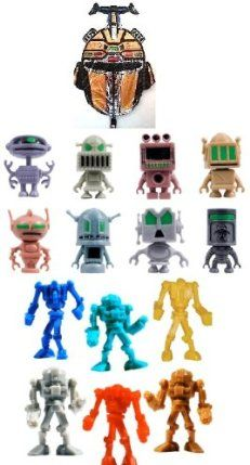 20 Warbots - 20 Retro Robots Toy Figures with Jumbo Robot Mylar Balloon - Robot Bundle by Party. $10.84. 1 Large 30 inch jumbo robot mylar balloon. 20 Warbot 1 inch robot figures. 20 Retro Robot 2 inch Figures. 41 piece bundle. Perfect for goodie bags door prizes etc.. These figures are made for vending machines. You will get 20 of the 1 inch Wabots (Styles and colors will vary) 20 of the 2 inch Retro Robots (styles and colors will vary) and 1 large jumbo 30 inch Robot myla...