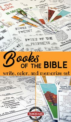 Books of the Bible in Order | Write, Color, and Memorize set  Help your kids learn the Books of the Bible in order as they write, color, and memorize with copywork, memory cards, and bookmarks! Bible Crafts For Kids, Bible Lessons For Kids, Kids Bible, Bible Activities, Character Activities, Homeschool Curriculum, Homeschool Kindergarten, Bible Trivia, Trivia Games
