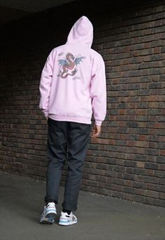 Chinese Dragon Design Printed On To A Pink Zip Up Hoodie