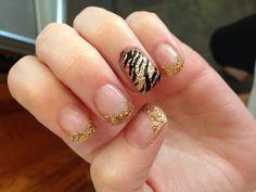 gold and zebra gel nails :)