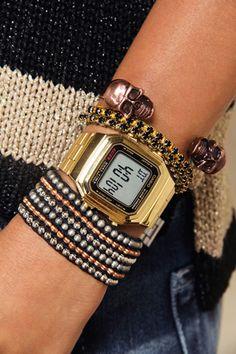 Casio vintage and bracelets.