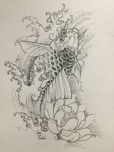 Koi Fish Drawing, Koi Fish Tattoo, Tattoo Falcon, Tattoo No Peito, Ancient Tattoo, Koi Dragon, Relationship Tattoos, Tattoo Studio, Koi Art