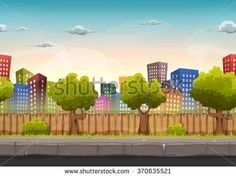 Seamless Street City Landscape For Game   Illustration of a cartoon seamless urban city landscape with fancy buildings and skyscrapers, for game
