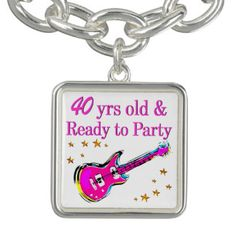 ROCK N ROLL 40TH BRACELET Enjoy our fabulous selection of 40th birthday jewelry. http://www.zazzle.com/jlpbirthday/gifts?cg=196901469086304704&rf=238246180177746410  #40thbirthday #40yearsold #Happy40thbirthday #40thbirthdaygift #40thbirthdayidea #happy40th #40thbirthday