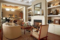 Chicago Home Magazine; A coffered ceiling and intricate moldings give this new-construction apartment the air of a gracious pre-war home. The 1930s Swedish armchai...