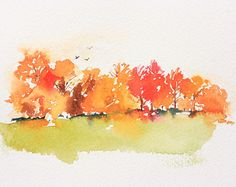fall trees watercolor