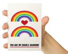 Funny Valentine Card -You are my double rainbow - 5X7 Greeting Card - Valentine's Day