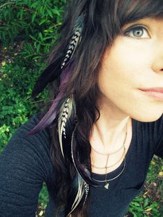Feather Extension Hair Clip - Purple, Black and White Long Tribal Cascading Feather Hair Extension Falls Hair Feathers - READY TO SHIP