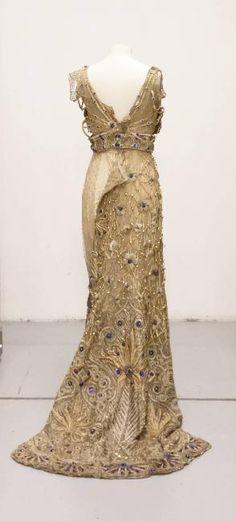 """""""Carthage"""" dress, embroidered tulle on satin, faux pearls and blue cabochons, Callot Soeurs, 1907, Palais Galliera, musée de la Mode de la Ville de Paris"""